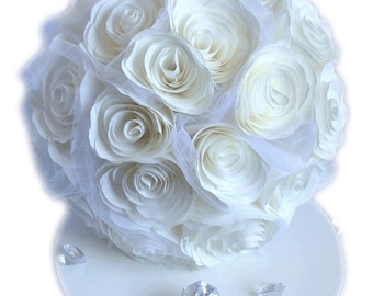 White Bridal bouquet, Paper flower wedding bouquet, Toss bouquet, Coffee filter paper bouquet made in colors of your choice, Throw bouquet