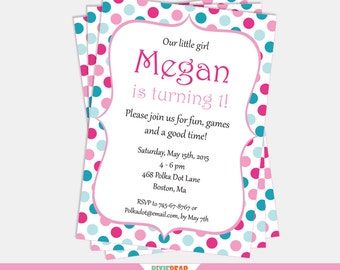 Pink and Teal Birthday Invitation - Polka Dot Invitation - Confetti Invitation - Polka Dot Birthday - Confetti Party (Instant Download)