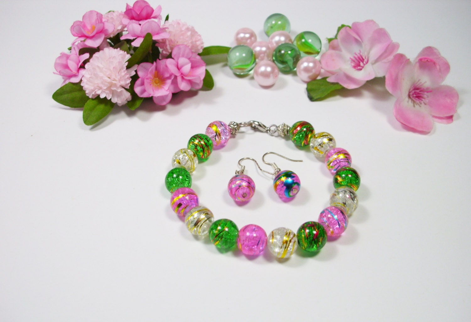 Teen Jewelry Set beaded bracelet and earrings fashion jewelry