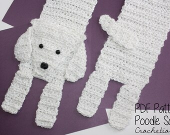 Crochet PATTERN - Poodle Scarf / Dog Breed Scarf, Puppy Scarf, Dog Scarf, Neck Warmer - PATTERN ONLY