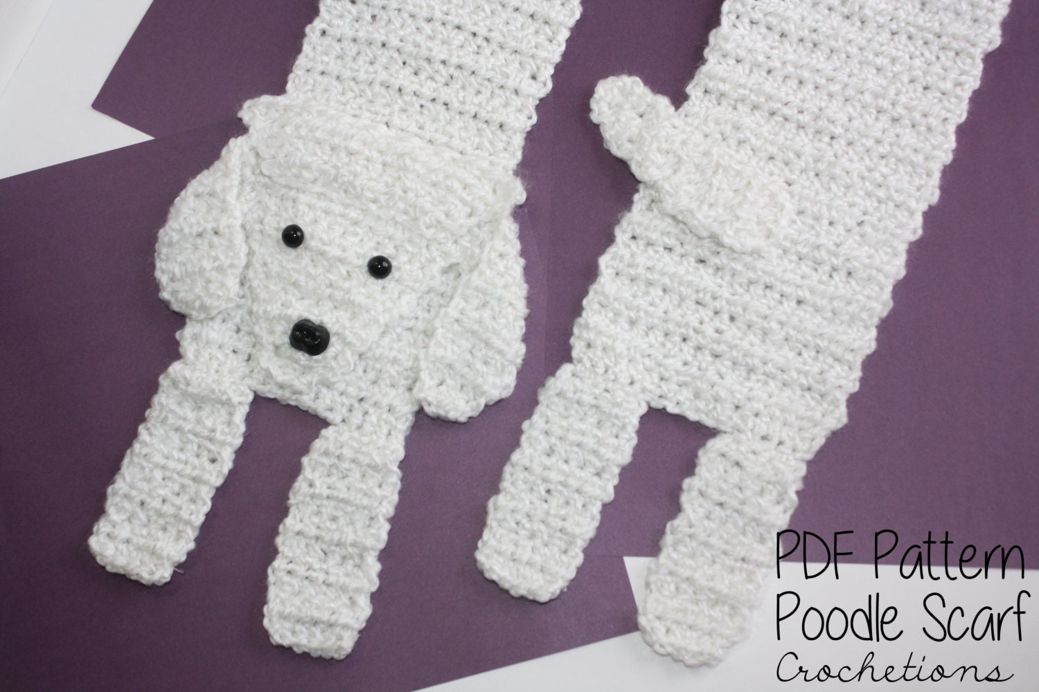 Free Crochet Pattern For Dog Bandana : Crochet PATTERN Poodle Scarf / Dog Breed Scarf Puppy Scarf