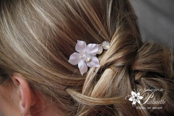 peigne mariage cheveux fleur de soie et cristaux bridal silk. Black Bedroom Furniture Sets. Home Design Ideas