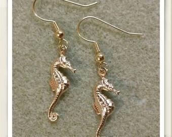 Gold Seahorse Earrings
