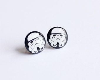 Storm Trooper Earring Studs -  Star Wars Earrings - Hypoallergenic Earrings for Sensitive Ears