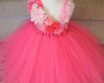 Hot Pink Flower Girl Tutu Dress with Shade of Pink Gorgeous Flower-bridesmaid dress, princess dress,