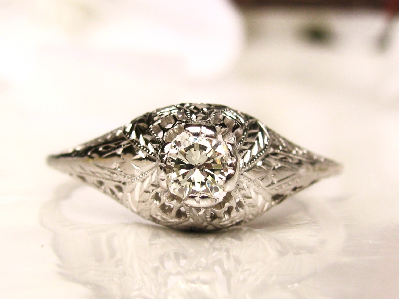 Antique Engagement Ring 0 25ct Diamond Edwardian Engagement