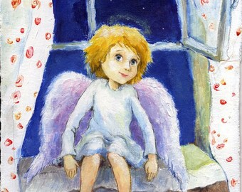 Angel print Guardian  Angel Painting Children's art Nursery Wall Decor Christmass angel New baby gift