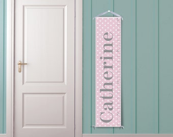 Classic Pink and White Polka Dots-Personalized Children's Growth Chart