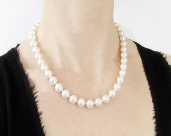 "18 Inch Hand Knotted Pearl Necklace, 18"" Pearl Necklace, Glass Pearl Necklace, Hand Knotted Pearls, Faux Pearl Necklace, Swarovski Pearls"