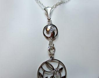 Vine leaves & Yin Yang symbol pendant