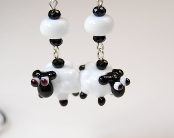 Glass Lampwork bead earrings.... Black and white sheep