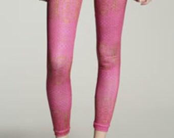 Pink Leggings - Pink Snake Print Leggings Pants - Girls Yoga Pants Leggings for Women - Yoga Tights - Yoga Leggins - Gift for her - Handmade