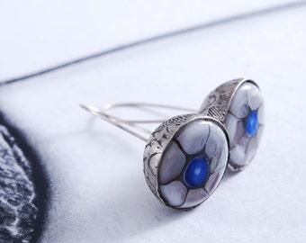 LES YEUX BLEUS - silver earrings