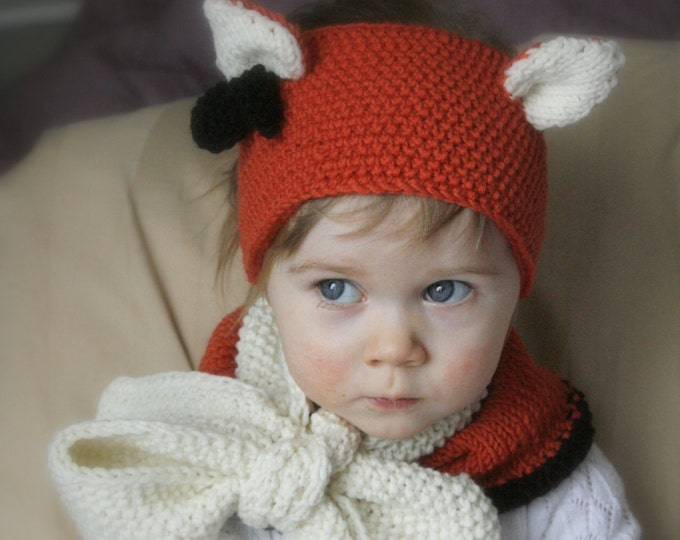 KNITTING PATTERN headband cowl fox headband and cowl set Quinn with ears and big boe (baby/toddler/child/adult sizes)