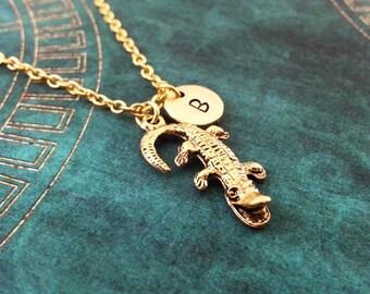 Alligator Necklace Crocodile Necklace Alligator Jewelry Pendant Necklace Gold Charm Necklace Crocodile Jewelry Swamp Gift Animal Necklace