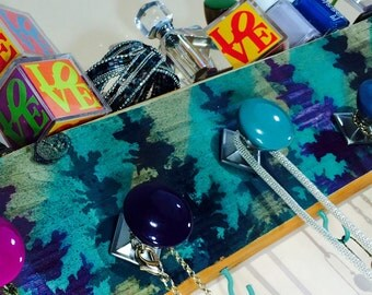Necklace holder reclaimed wood /jewelry storage organizer /scarf hanger wall hanging teal stripes, pine trees 6 hooks 5 hand-painted knobs