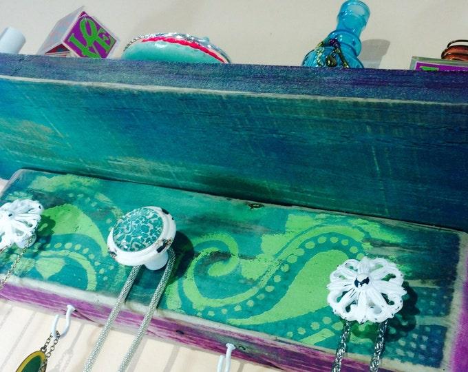 Floating shelves /pallet wood shelving reclaimed wood wall hanging shelf jewelry hanger/ Necklace holder teal paisley 3 knobs, 4 hooks