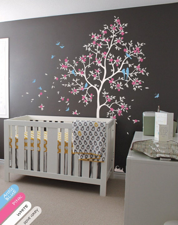 White tree wall decal huge tree wall decals cherry blossom - Stickers arbre chambre fille ...
