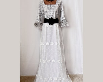Fantastic white black dress/engagement dress/bridesmaids dress/ evening prom / altered couture/long sleeve dress