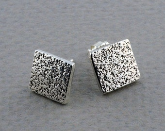 Silver Square Stud Earrings, Textured Silver Earrings, Small Stud Earrings, Sterling Silver