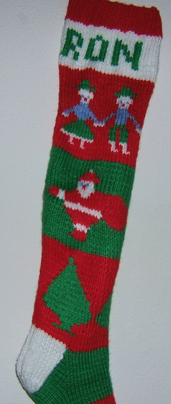 Knitted Christmas Stocking Patterns Personalized : Personalized Hand Knitted Christmas stockings