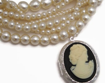 vintage locket necklace - classic cameo locket necklace, locket necklace, locket with cameo necklace, handmade necklace, upcycled necklace