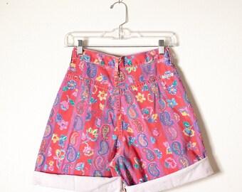 Soft Grunge Denim Shorts, Festival Clothing, High Waist Shorts, Red Denim, Jean Shorts, Paisley Print 80s Shorts, 90s Shorts, Floral Denim