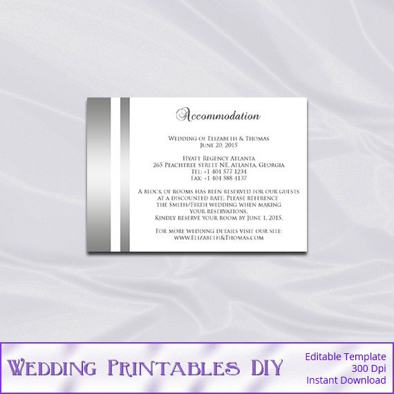 Wedding Invitation Accommodation Insert Wording: Items Similar To Wedding Enclosure Cards Template, Silver