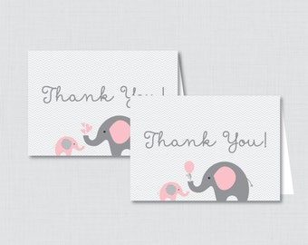 elephant baby shower thank you card boy or girl thank you