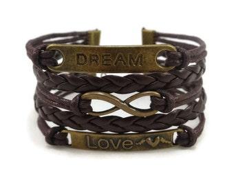 Brown Infinity Love Bracelet, Bohemian Bracelet, Infinity Bracelet, Leather Bracelet, Multilayer Bracelet, Boho Bracelet, Gift for Her