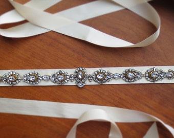 "Vintage inspired Beaded Bridal belt sash   Art deco wedding sash belt   Petite crystal bridal belt   Style ""Kelsi"""
