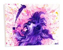 Dog Art Card - Greeting Card with envelope - Purple dog card - Yorkiepoo - Funny dog card - C6 size card - surprise card - dog note card