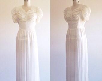 Simple wedding dress- White wedding dress- 1940s wedding dress- Silk wedding dress- 40s dress- White evening dress- White gown- Small