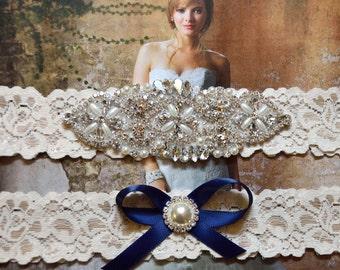 Vintage Inspired Wedding Garter Set, Bridal Garter Set, Ivory Lace Garter, Rhinestone Crystal, Violet Style 10355