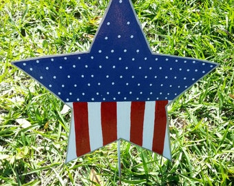 Patriotic  Star Yard Decoration, 4th of July Outdoor Decor, Patriotic Yard Art, Americana Outdoor Decor, American Flag Decor, Memorial Day