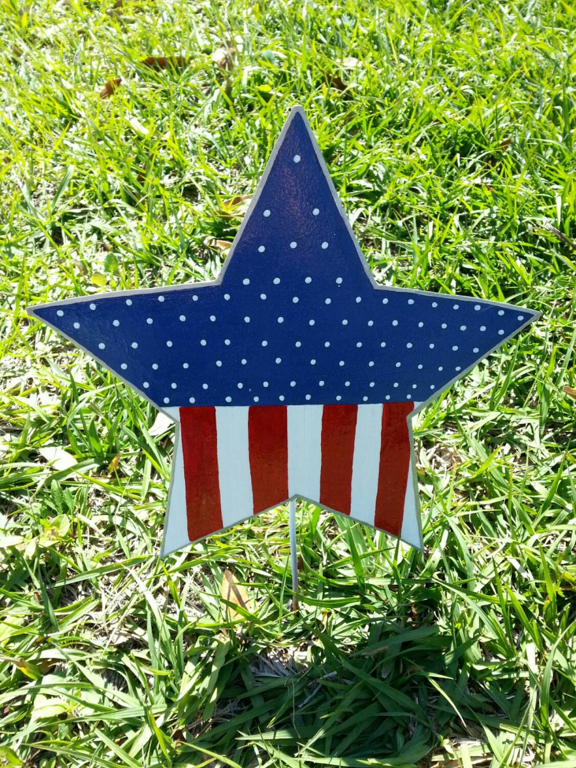 Patriotic star yard decoration 4th of july outdoor decor for 4th of july decorating ideas for outside