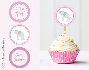 Elephant Baby Shower Cupcake Toppers Printable Baby Shower Cup Cake Toppers  Cupcake Decorations Girl Baby Shower Itu0027s A Girl Elephant Theme