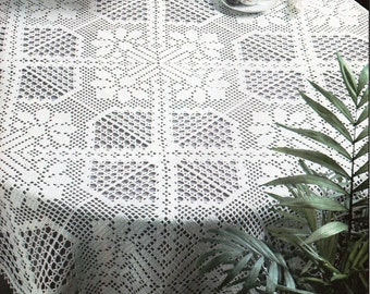 CROCHET PATTERN Crochet Tablecloth Filet Crochet Tablecloth with Chart Amaryllis 47 inches Square Crochet Cotton Thread PDF Instant Download