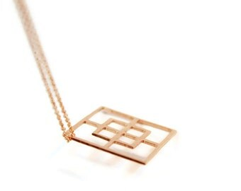 Geometric square pendant handmade copper necklace abstract geometric style on long copper chain
