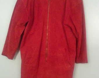 Bagatelle Sport Red Suede Shift Dress with Front Zipper and Pockets Sz 6