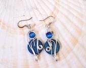 Cobalt Blue Earrings, Blue Dangle Earrings, Bohemian, Boho Chic, Bright Blue, Cats Eye Earrings, Funky Jewelry, Bright Blue Earrings