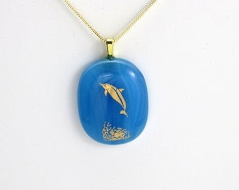 Playful Dolphin Fused Glass Pendant On Gold Chain (Item #174)