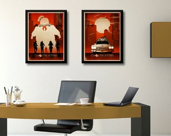 Ghostbusters Stay Puft, Ghostbusters Ecto-1, Movie Poster, Ghostbusters print, Ghostbuster Retro, Art Print, Minimalist Ghostbusters poster,