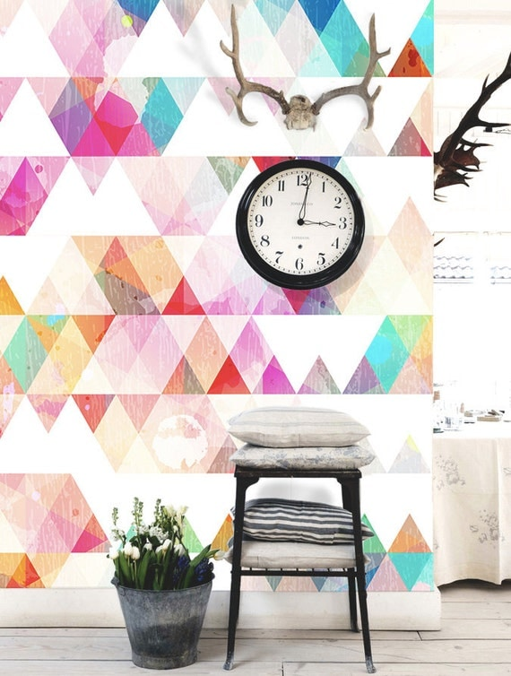 Multi colored geometric wallpaper triangle wall by dreamywall - Toner leroy merlin ...