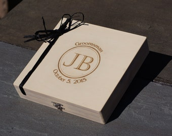 Set of 6 Rustic Personalized Engraved Cigar Boxes, Cigar Box, Groomsman giftbox, Groomsman gift, Custom Engraved Cigar Box