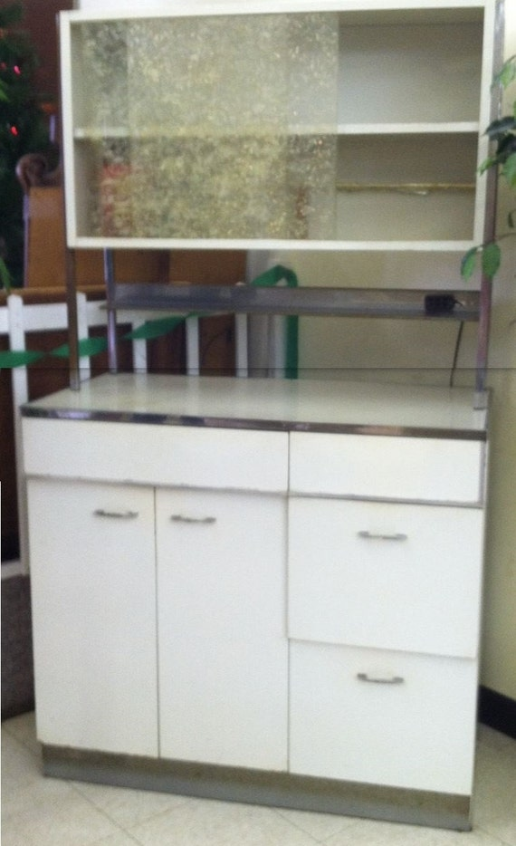 Vintage Retro White Kitchen Metal Cabinet Mad Men Bar Storage Man Cave