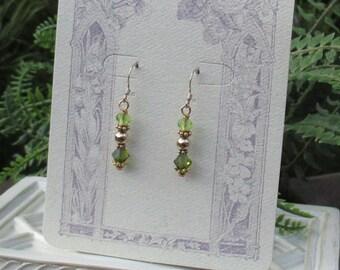 Genuine Peridot Faceted Gold Filled Beaded w/ Swarovski Crystal Earrings Gemstone Peridot Green Gold August Birthstone Earrings