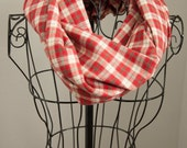 Red Beige Lightweight Flannel Infinity Scarf