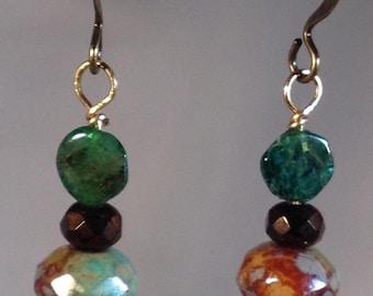 Czech glass & Emerald earrings
