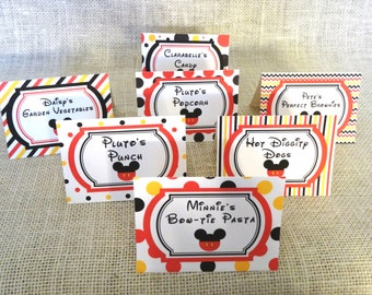 Mickey Mouse Clubhouse Party - Food Tents / Food Signs / Food Labels - set of 5 or 10